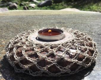 Candleholder - Brown, Table Decor, Rounded Shape, Network Ornament, Tea Light, Romance, Wall Accent, Art Nouveau, Lathe Work, Polished Stone