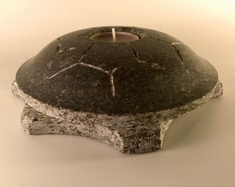 Candleholder - Turtle, Peaceful Present, New Year Turtle, Zoo Gift, Animal Lowers, Gray Stone Gift, Candleholder Dark, Turtle Shape, Slow