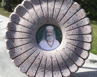 Kriya Yoga Meditation Guru photo frame made of granite stone in flower shape with Gurudev Paramahamsa Hariharananda in the center of object