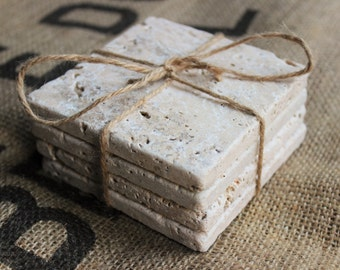 Travertine Drink Coasters Plain Natural Stone Absorbent Coasters Blank Tumbled Stone Tiles Set of Four Coasters / Home Decor / Wedding Gift