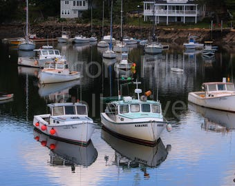 Sailboat Photography, Harbor full of boats, Perkins Cove Harbor, Motorboats prints, Ogunquit Maine, Boat Reflection in ocean, fine art print