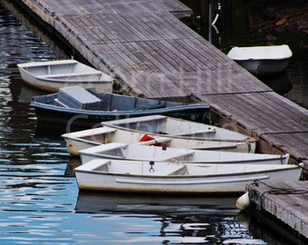 Dingy Boats tied up to dock, small rowboats anchored, boat reflection on water, Boats poster prints, Perkins Cove Harbor, Ogunquit Maine