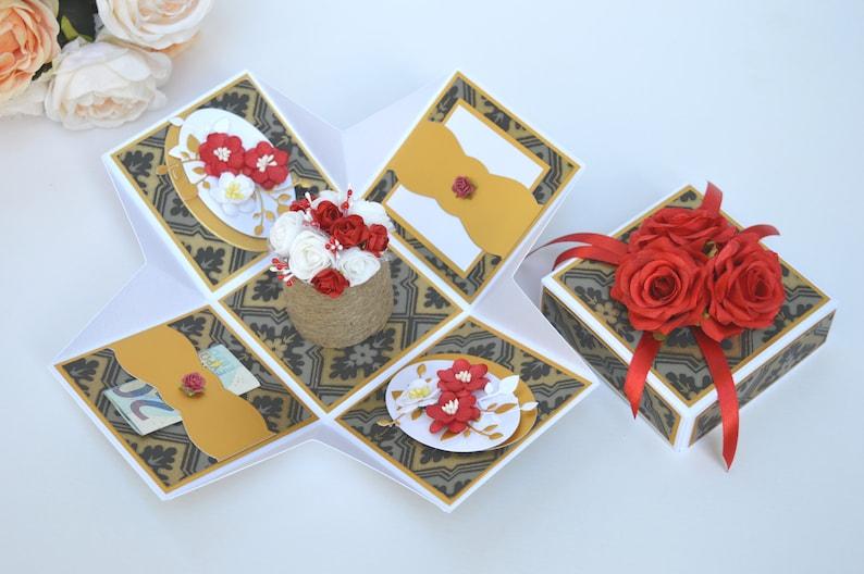 Elegant explosion box card Floral exploding box card Card in a box Red card Red birthday explosion box Anniversary gift box