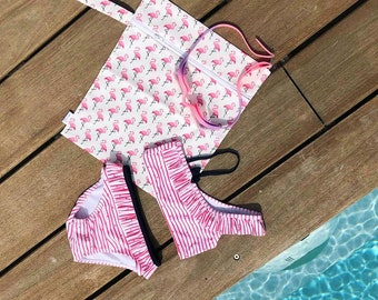 Wet swimsuit or washable diaper bag (pink flamingos) - Waterproof pouch