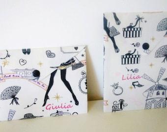 Pocket for disposable masks size CHILD / ADULT FFP2 personalized black and white Paris Little Black Dress