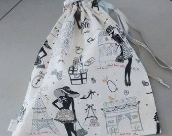 Paris La Petite Robe-themed shoe bag/ paris-themed shoe bag
