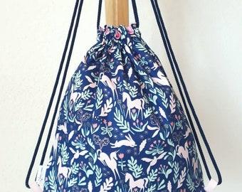 Sac à dos pour enfants bleu marine et rose Licornes