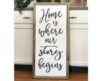 """Home Is Where Our Story Begins 18"""" x 38"""" Wood Framed Sign Canvas Sign"""