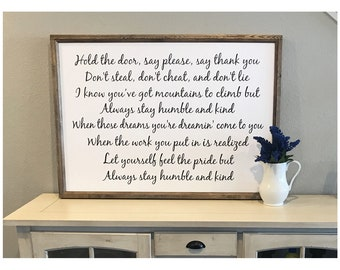 "Always Stay Humble And Kind 42"" x 30"" Wood Framed Sign Canvas"