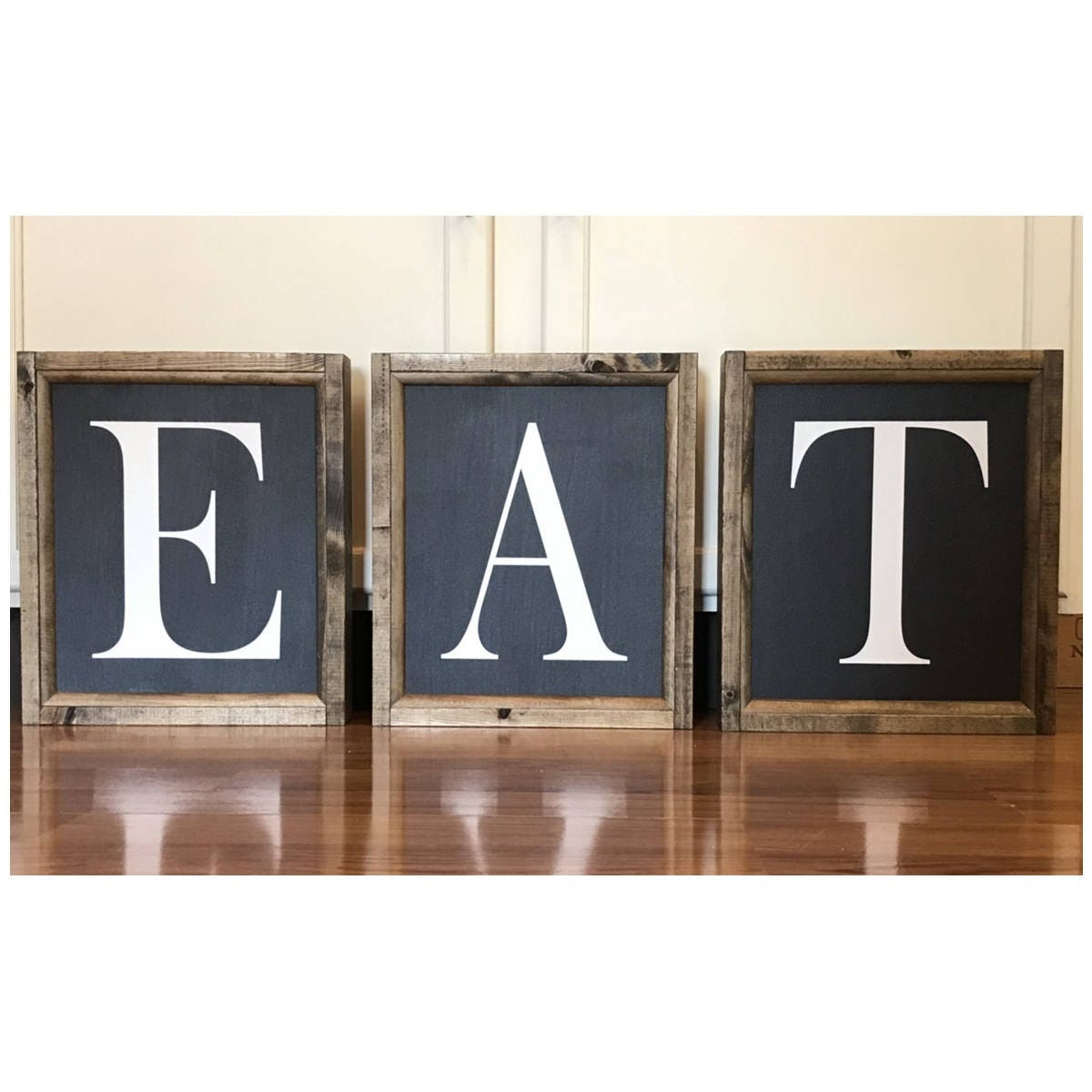 Kitchen Set Letter L: EAT Letters Wood Framed Sign Canvas Set Of 3 Kitchen Signs