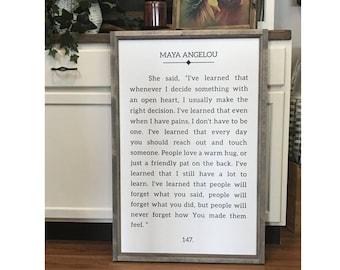 "Maya Angelou Book Page Sign 24"" x 36"" Wood Framed Sign"