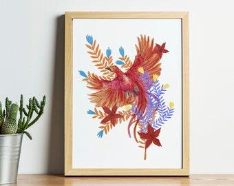 Phoenix || A4 & A3 Art Print || Digital Download || Printable Artwork