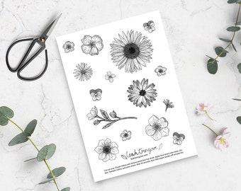 Floral Temporary Tattoos || Flash Sheet