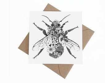 Floral Bumble Bee || Square Greetings Card