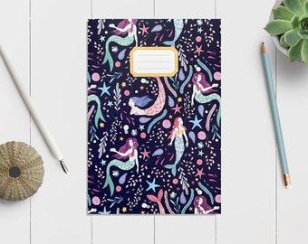 Mermaids Patterned Notebook || Lined Notebook || Plain Sketchbook