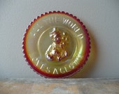 All The World Loves A Clown Glass Plate, Mosser Orange Carnival Glass Clown Dish, Free Shipping