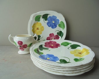 Vintage 1950s handpainted floral china Stetson dinnerware salad dessert plates pink flowers green stem Lincoln Illinois pottery replacements