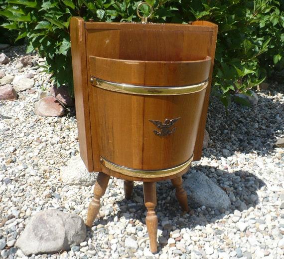 Vintage Wood Barrel Sewing Table Wood Barrel Storage Wood | Etsy