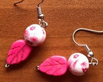 Pink Leaf + Floral Fishhook Earrings