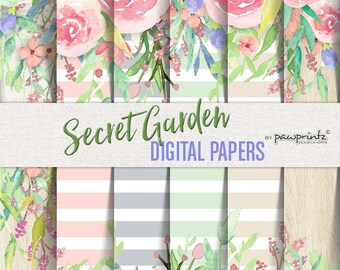 Floral Digital Paper: Watercolor/Stripes-Pastels,Blush,Gray,Sand,Mint,Wood,Neutrals-Invitations,Backgrounds,Scrapbook,12x12 Secret Garden