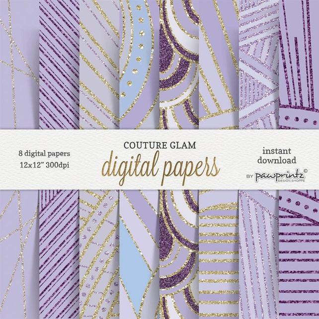 Papel Digital lavanda Pack - oro Glitter lavanda violeta púrpura patrones -  costura Glam papeles