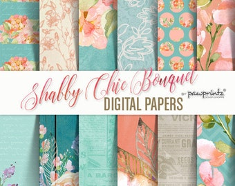 Shabby Chic Digital Paper: Floral Watercolor Teal Peach Wood