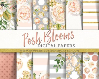 Floral Digital Paper: Watercolor Roses/Champagne,Peach,Blush,Gray,Rose Gold/Stripes,Polka Dots,Moroccan Patterns