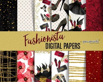 Fashion Digital Paper, Christmas Planner Girl Digital Paper, New Year Party, Black and Red Fashion Paper Pack, Heels Shoes Dress Digital