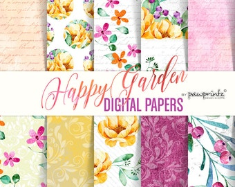 Floral Digital Paper: Pink & Yellow Flowers/Watercolor/Scrapbook Paper 12x12
