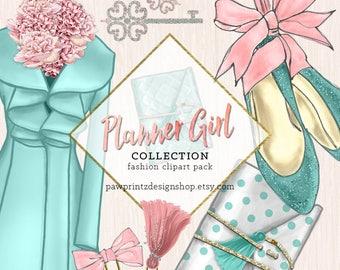 Planner Girl Clipart: Glam Planner/Fashion Clip art/Aqua Pink/Tassles Keys Jewelry Shoes Flowers