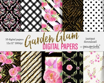 Floral Digital Paper: Black & White Stripes-Rose Pink Flower Patterns-Scrapbook, Stickers, Invitations, Backgrounds