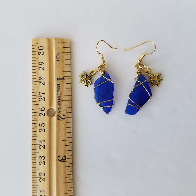 Wire Wrapped Blue Cultured Sea Glass made from recycled bottles with sea stars  star fish  Dangle Earrings  Free Shipping