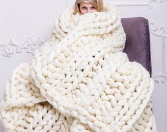 Super Chunky Blanket, Chunky Knit Blanket, Blanket, Merino Blanket, Wool Blanket, Chunky yarn, Knitting