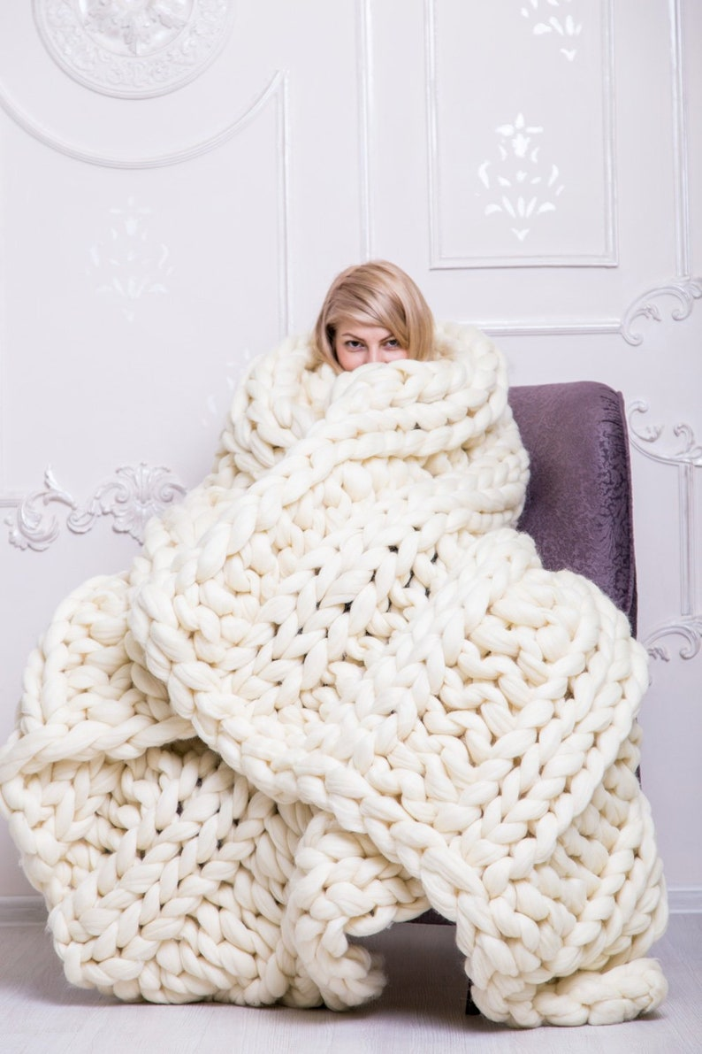 Chunky knit blanket Chunky blanket Knitted Blanket Wool Pearl