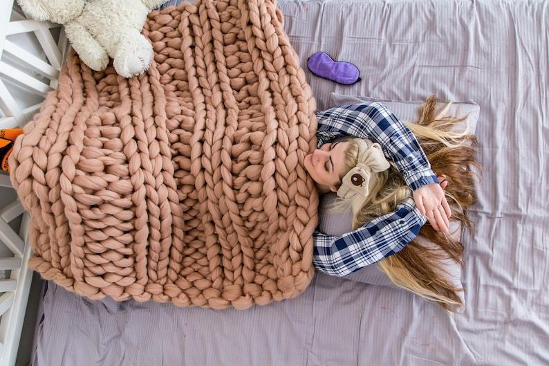 Blanket Wool Blanket Chunky knit blanket Merino Wool Throw Super Chunky blanket Knitted Blanket Wool throw Chunky yarn Throw blanket
