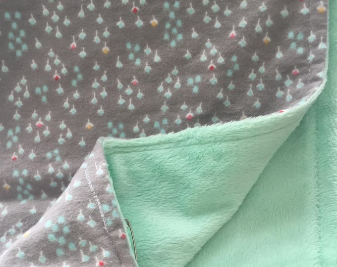 gray and mint cotton flannel and chenille crib blanket