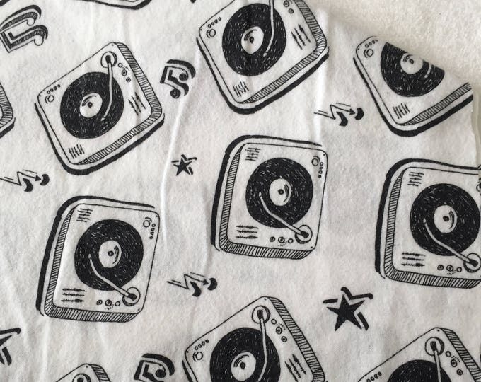 three pack black and white retro record player burp cloths