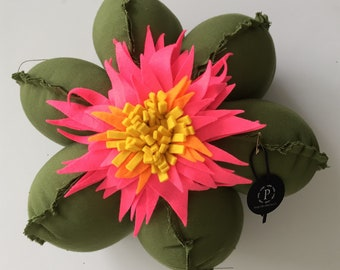 leaf green and neon bloom medium sized cactus ottoman
