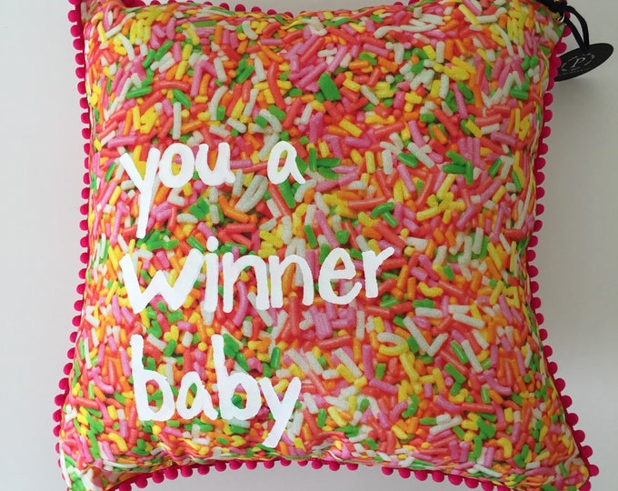 you a winner baby! sprinkle pillow