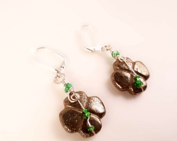 Wire Wrapped Pyrite Crystal Earrings