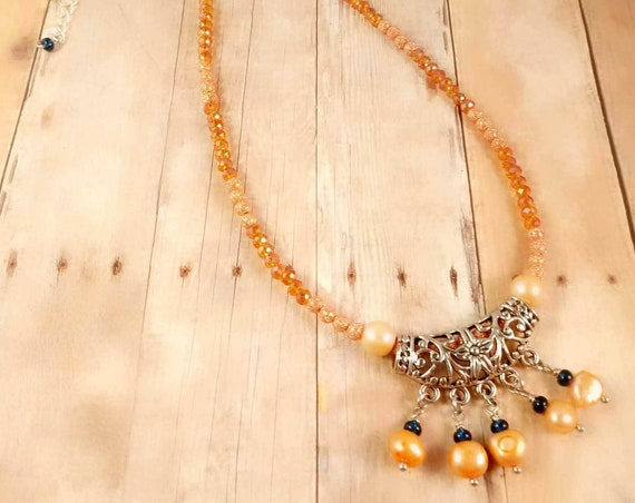 Orange Freshwater Pearl with Sterling Silver Chain Necklace