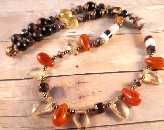 Vintage German Glass and Agate Stone Magnetic Necklace