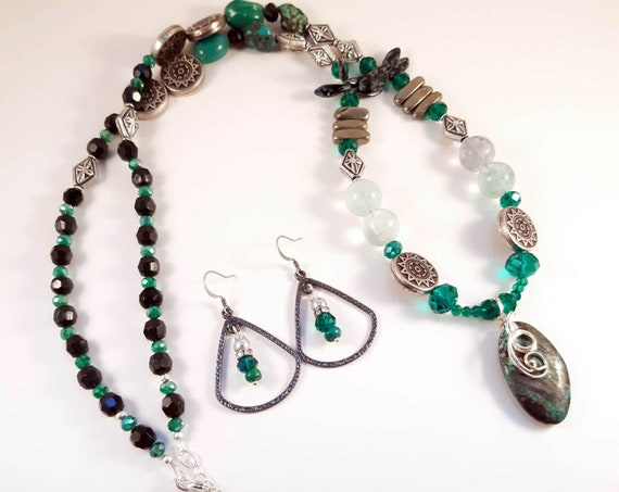 Turquoise Sun Necklace and Earring Set
