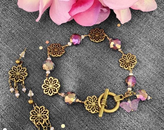 7 inch Flower Power Bracelet and Earring Set