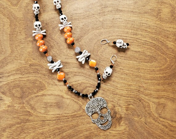 Halloween Skull and Cross Bones Necklace and Earring Set
