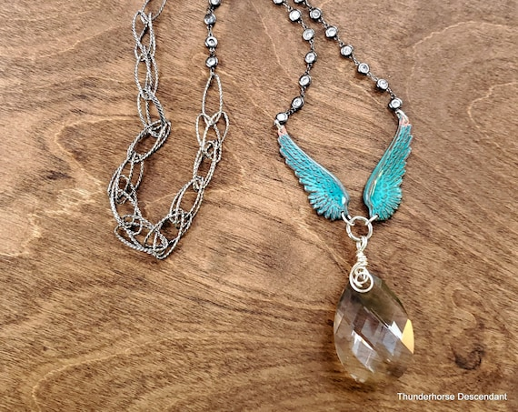 Angel Wing Crystal Pendant Necklace