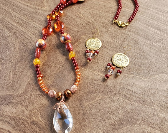 Red and Yellow Printed Shell and Crystal Necklace
