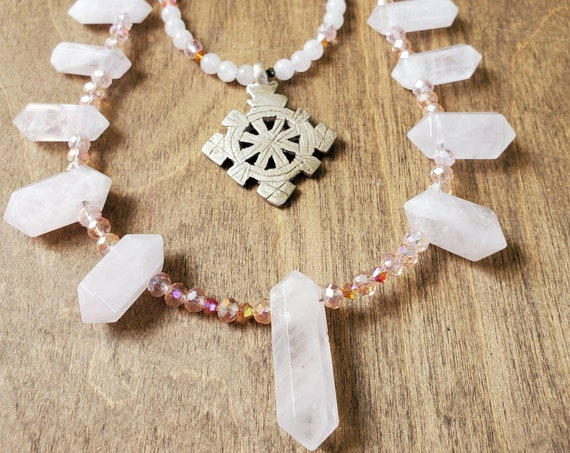 Genuine Double Pointed Double Strand Rose Quartz Necklace with Ethnic Pendant