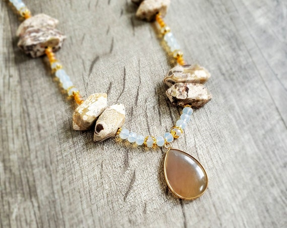 Protection, Strength, and Support Mushroom Rhyolite and Agate Pendant Necklace