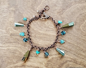 Adjustable Genuine Turquoise and Red Bronze Charm Bracelet